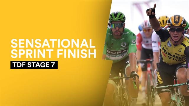Watch the high-octane photo finish sprint as Groenewegen beats Ewan and Sagan in thriller