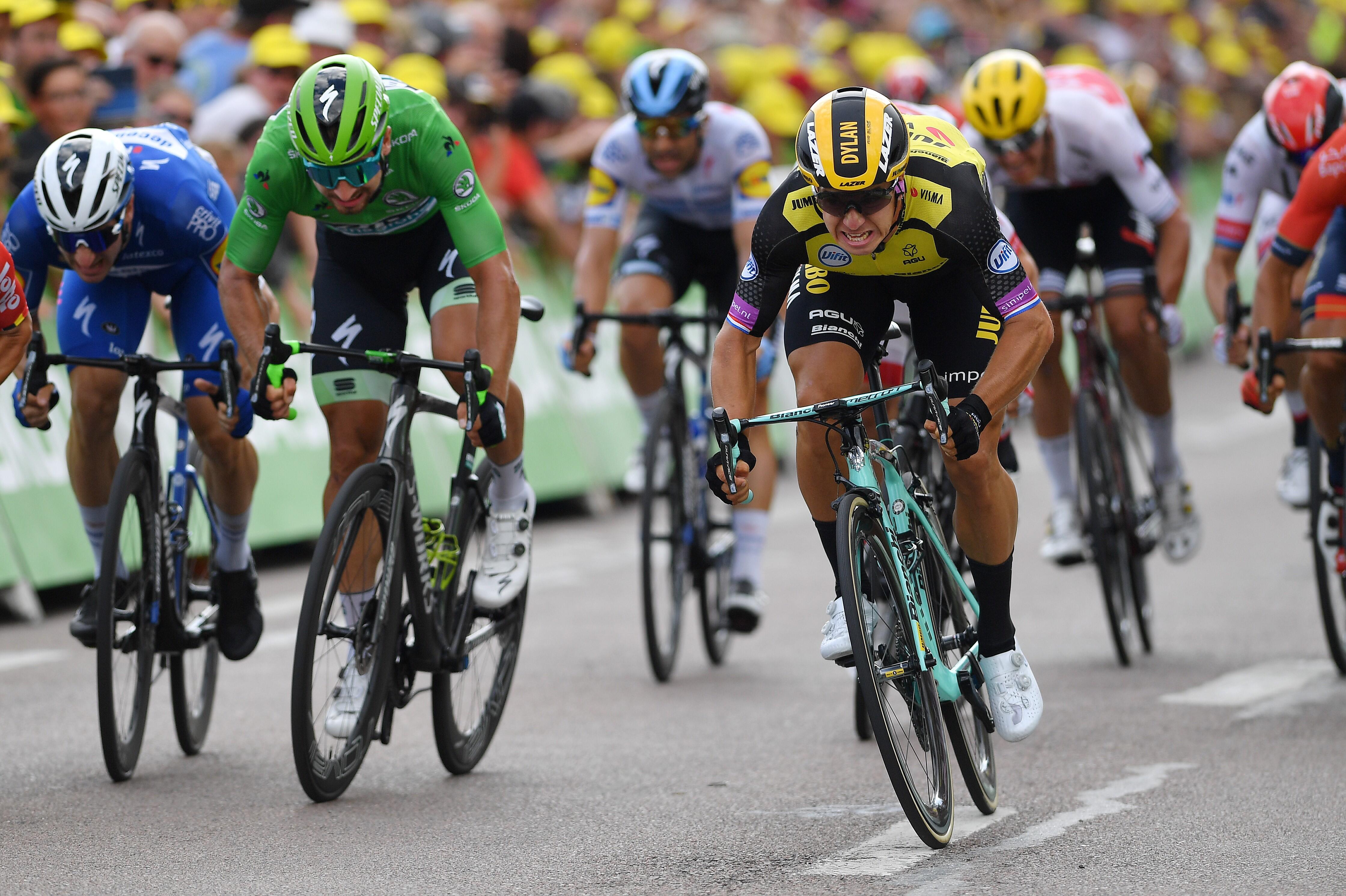 Dylan Groenewegen, Tour'un yedinci etabını galibiyetle tamamlıyor.