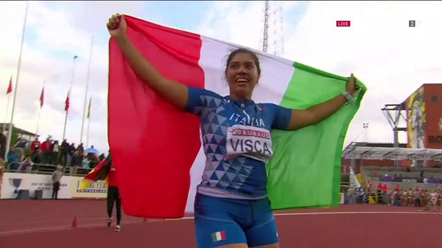 Carolina Visca è oro agli Europei U20 nel giavellotto con un lancio di 56.48 metri