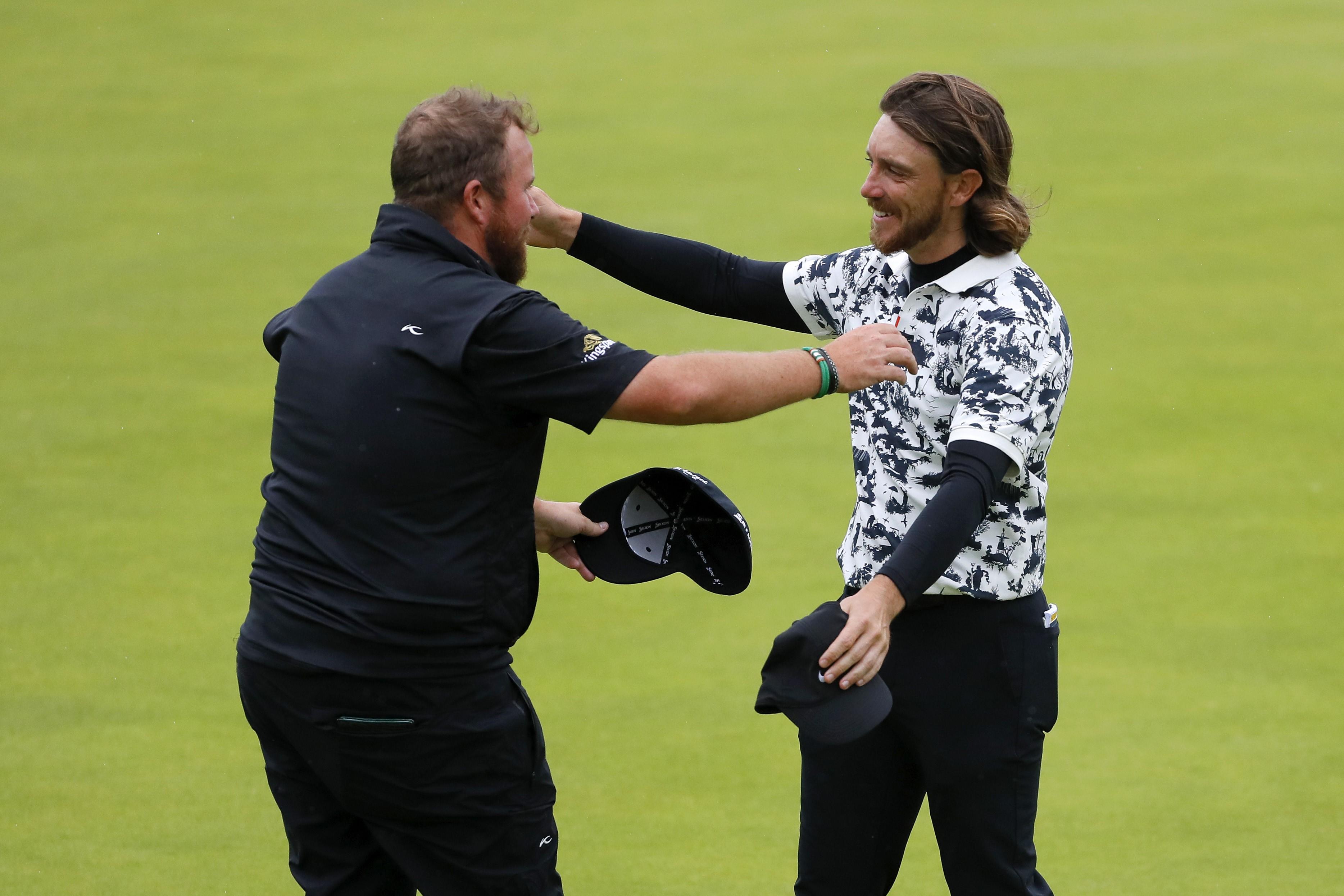 Shane Lowry et Tommy Fleetwood lors de l'Open Britannique 2019