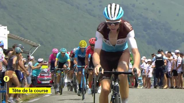 Romain Bardet crests the Port de Lers