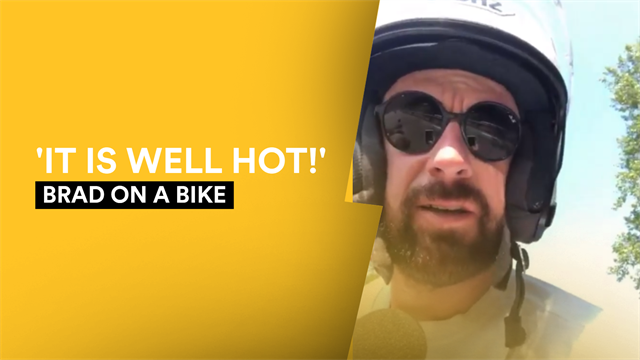 Brad on a Bike - Wiggins chats to Van Avermaet and deals with the sweltering heat