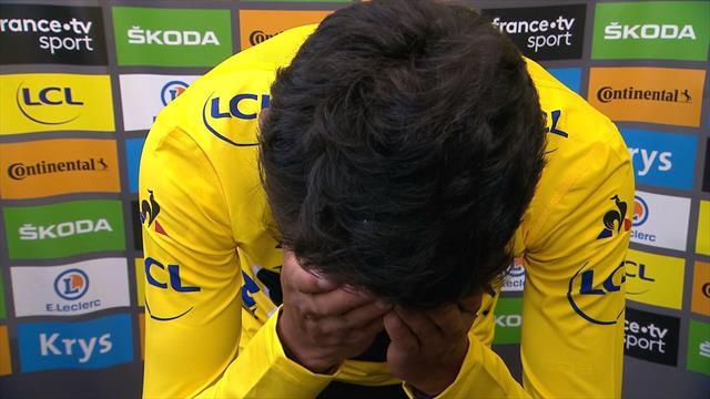 Tour de Francia 2019: Un emocionado Egan Bernal rompe a llorar vistiendo el amarillo