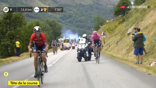 Il momento in cui Nibali stacca i compagni di fuga: il siciliano va da solo sul Val Thorens