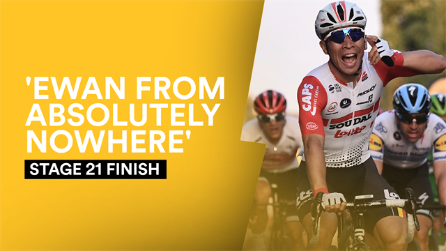 'Caleb Ewan from absolutely nowhere!' Watch the thrilling Champs-Elysees sprint finish