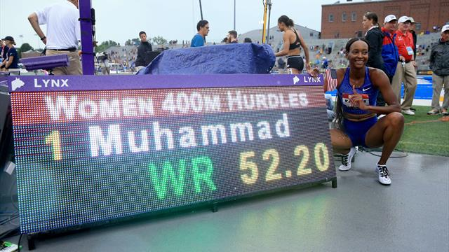 Muhammad sets 400m hurdles world record on wet track