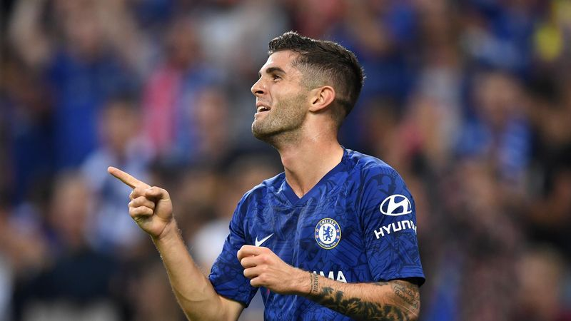 Christian Pulisic of Chelsea celebrates after he scores his sides third goal during the pre-season friendly match between RB Salzburg and FC Chelsea at Red Bull Arena on July 31, 2019 in Salzburg, Austria