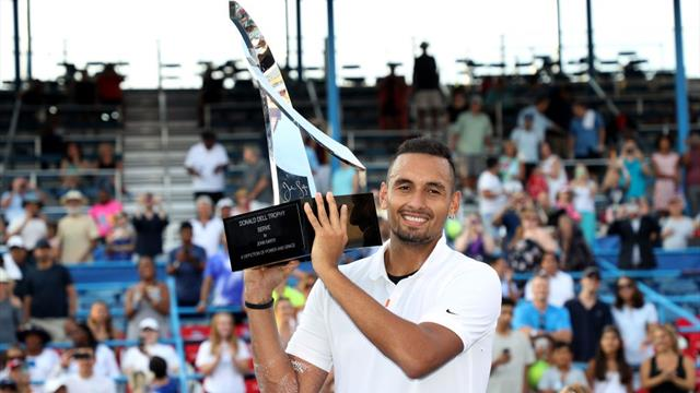 Kyrgios fights off back spasms to win Citi Open title