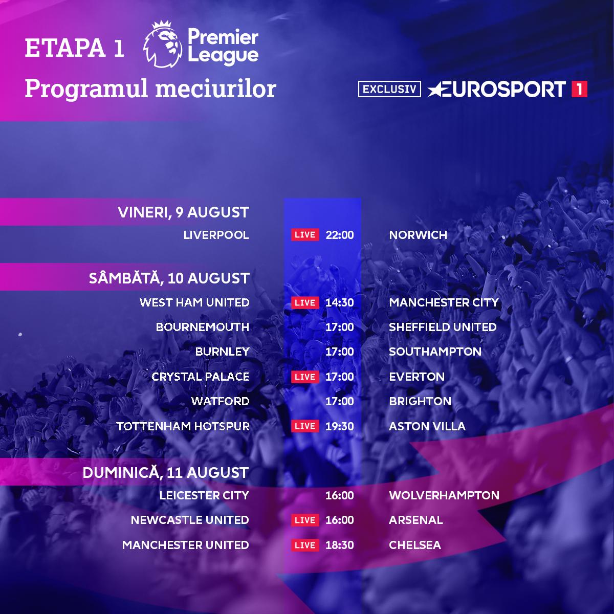 Matchday Schedule - Round 1 - Premier League