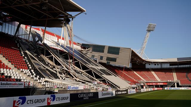 El viento derrumba parte del estadio del AZ Alkmaar