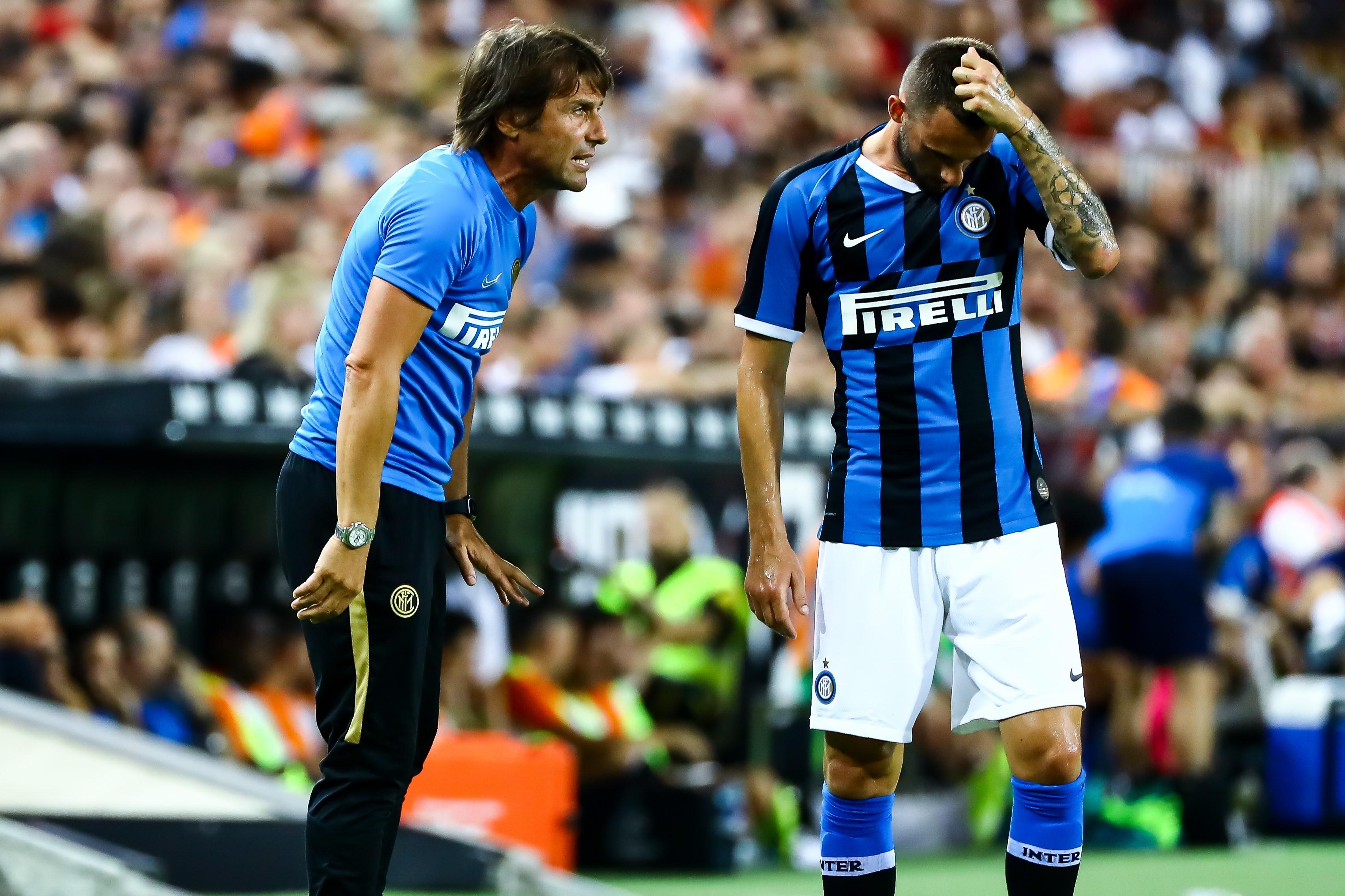 Antonio Conte, lors de Valencia-Inter