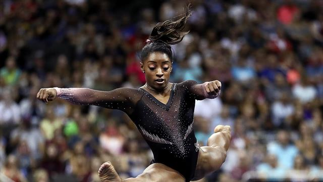 Biles soars to record-equalling sixth title at national championships