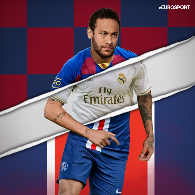 Neymar, camiseta del Barça y del Madrid