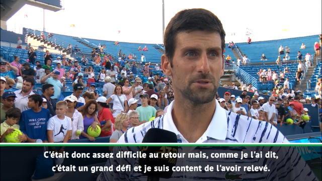 """Djokovic : """"Content d'avoir relevé ce grand défi au retour"""""""