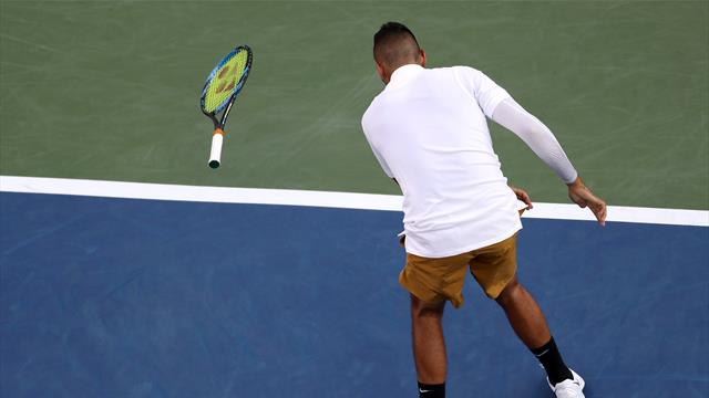 Kyrgios smashes rackets and calls umpire 'a tool' in angry defeat