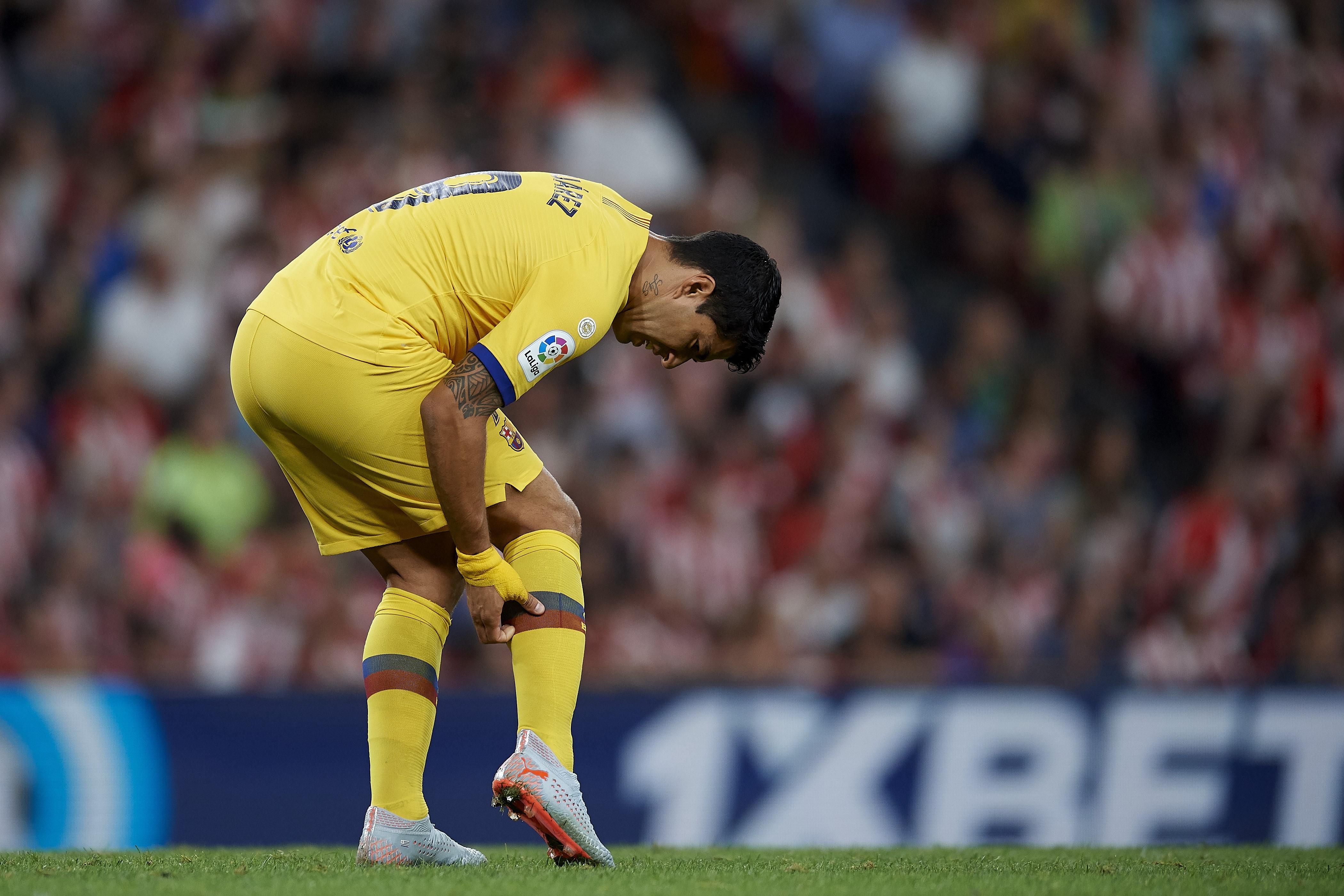 Luis Suarez blessé lors de la rencontre Athletic Bilbao-FC Barcelone / Liga