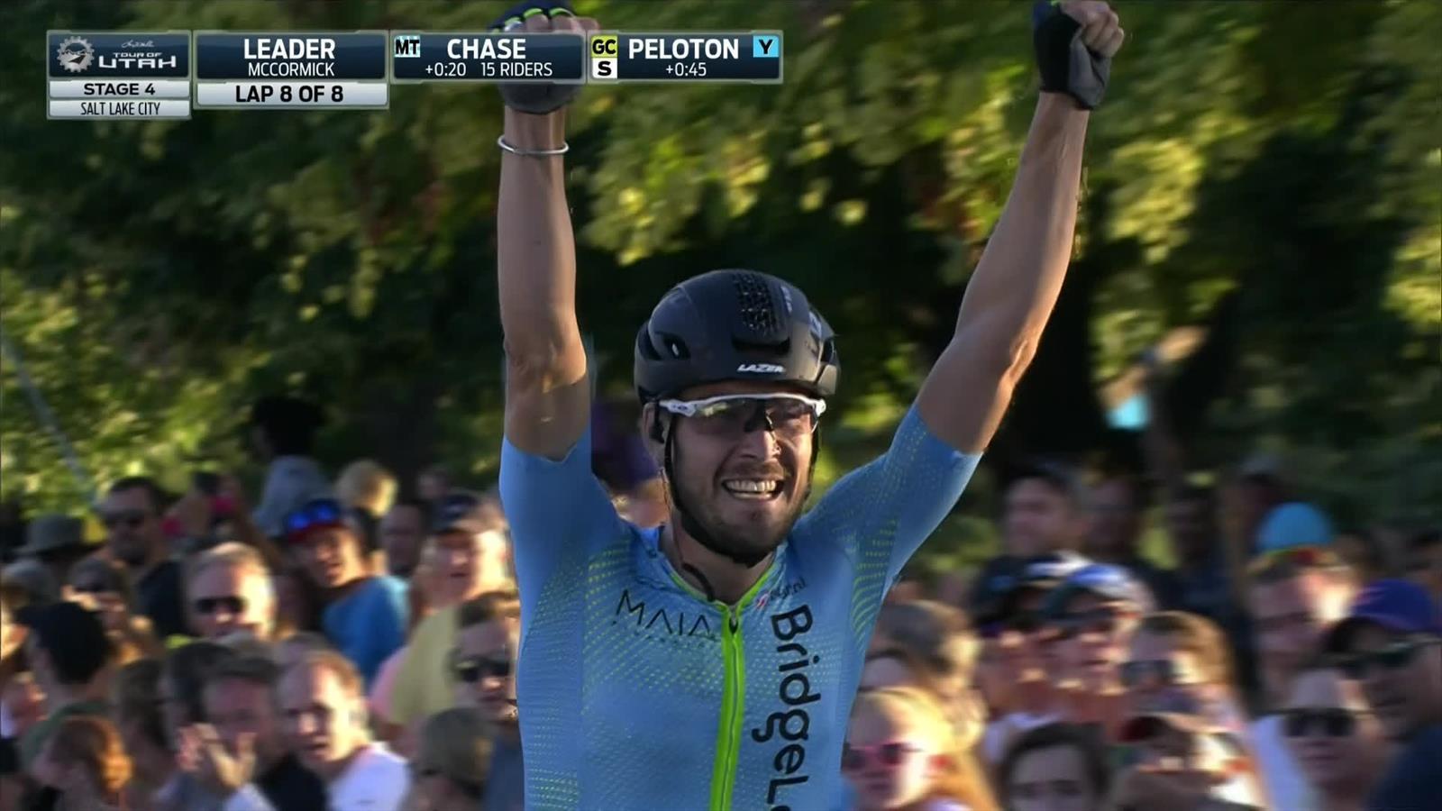 Hilarisch: Hayden McCormick juicht te vroeg in Ronde van Utah