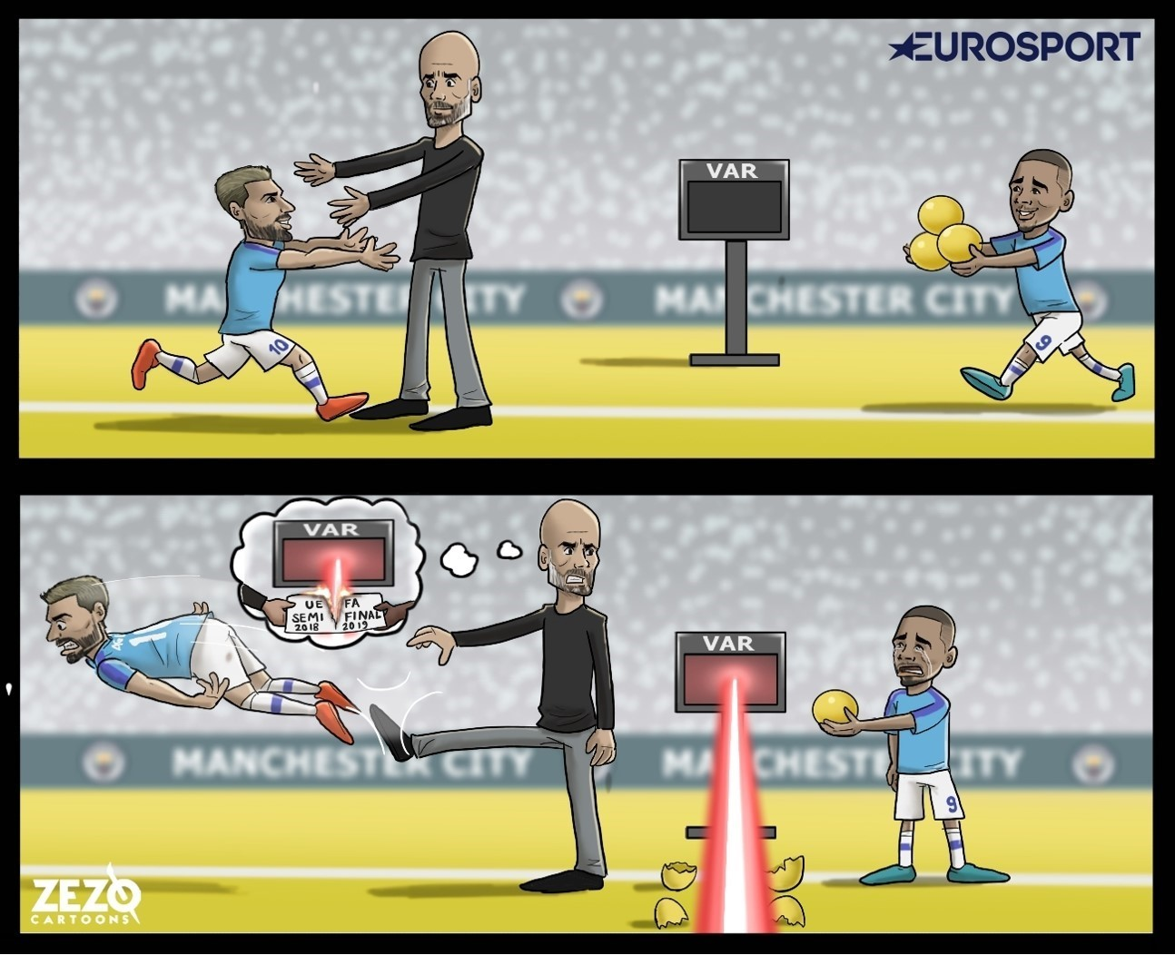 Cartoon of Manchester City v Tottenham Hotspur