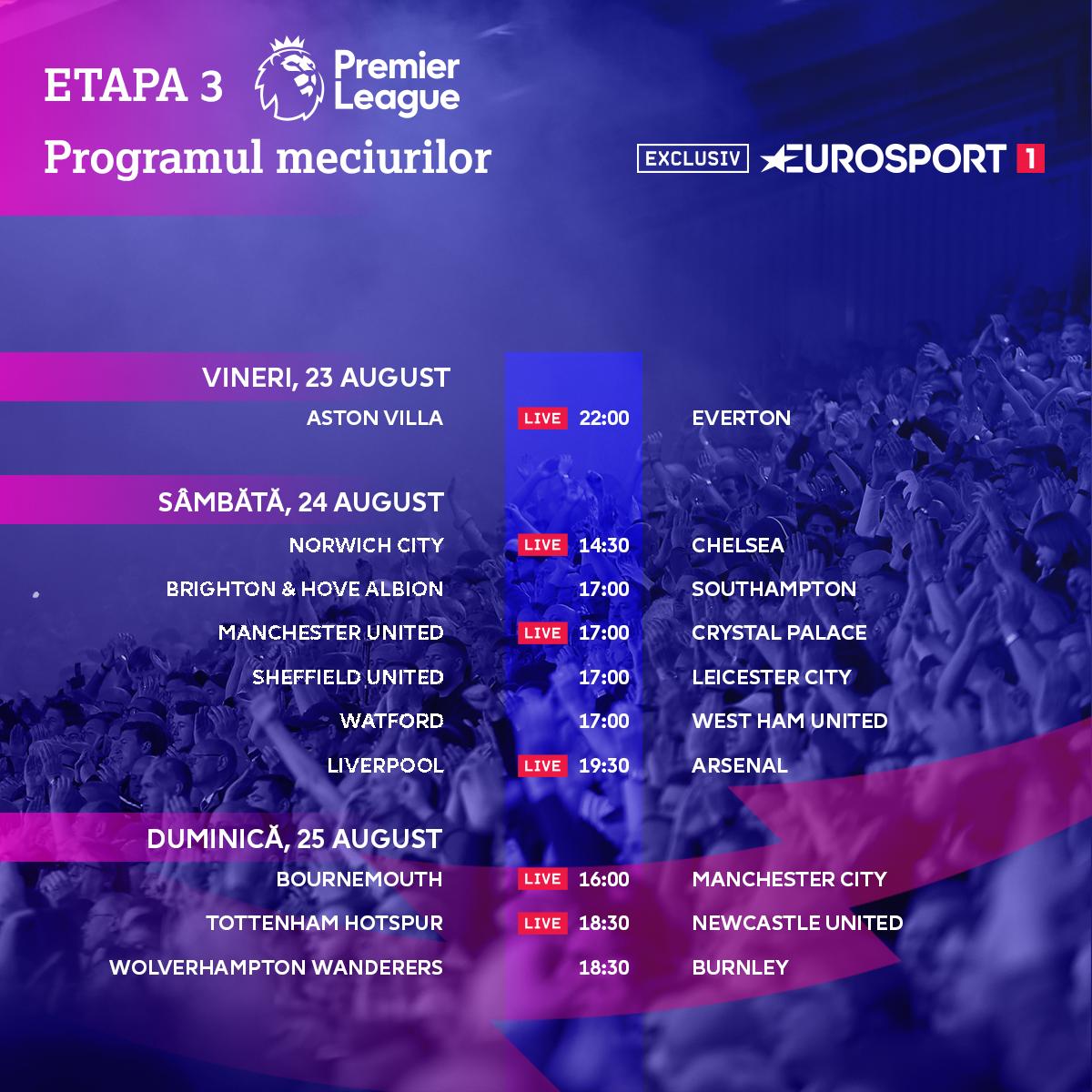 Premier League 2019-2020: Fixtures Round 3