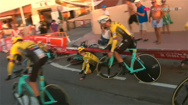 Wonderful footage from inside carnage of UAE Team Emirates crash