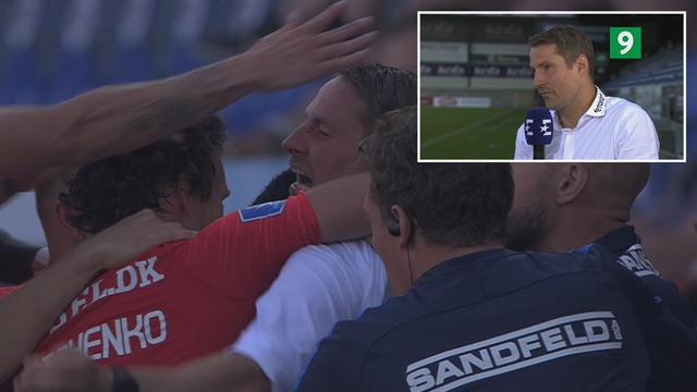 """FCM-spillerne fejrede 0-2-scoringen med Brian Priske: """"Det er jo fedt"""""""