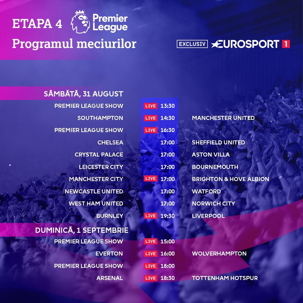 Premier League 2019-2020: Matchday 4 schedule