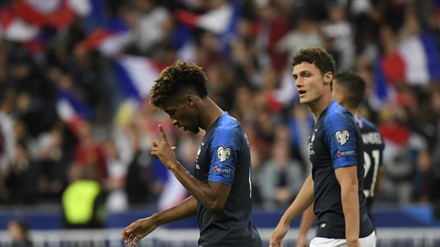 Coman double helps France beat Albania to stay top of Group H