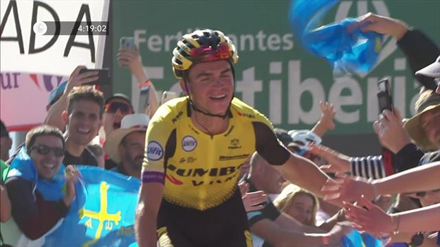 Watch Sepp Kuss soak in the celebrations with spectacular stage win