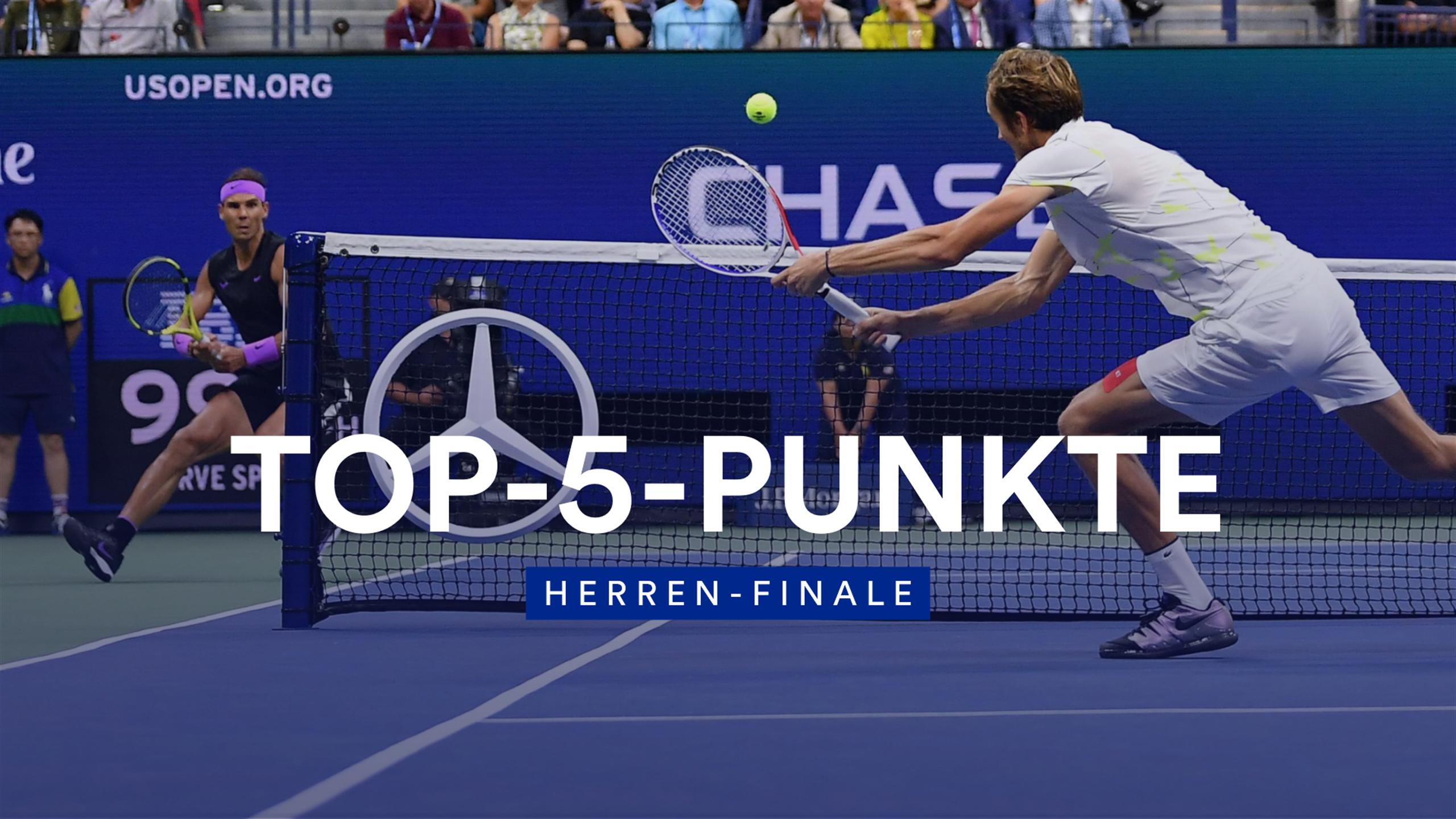 Лучшие розыгрыши Надаля и Медведева в финале US Open (ВИДЕО)