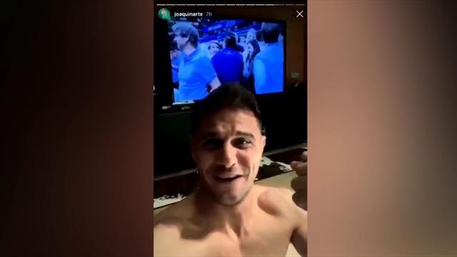 El show de Joaquín viendo a Nadal en la final del US Open