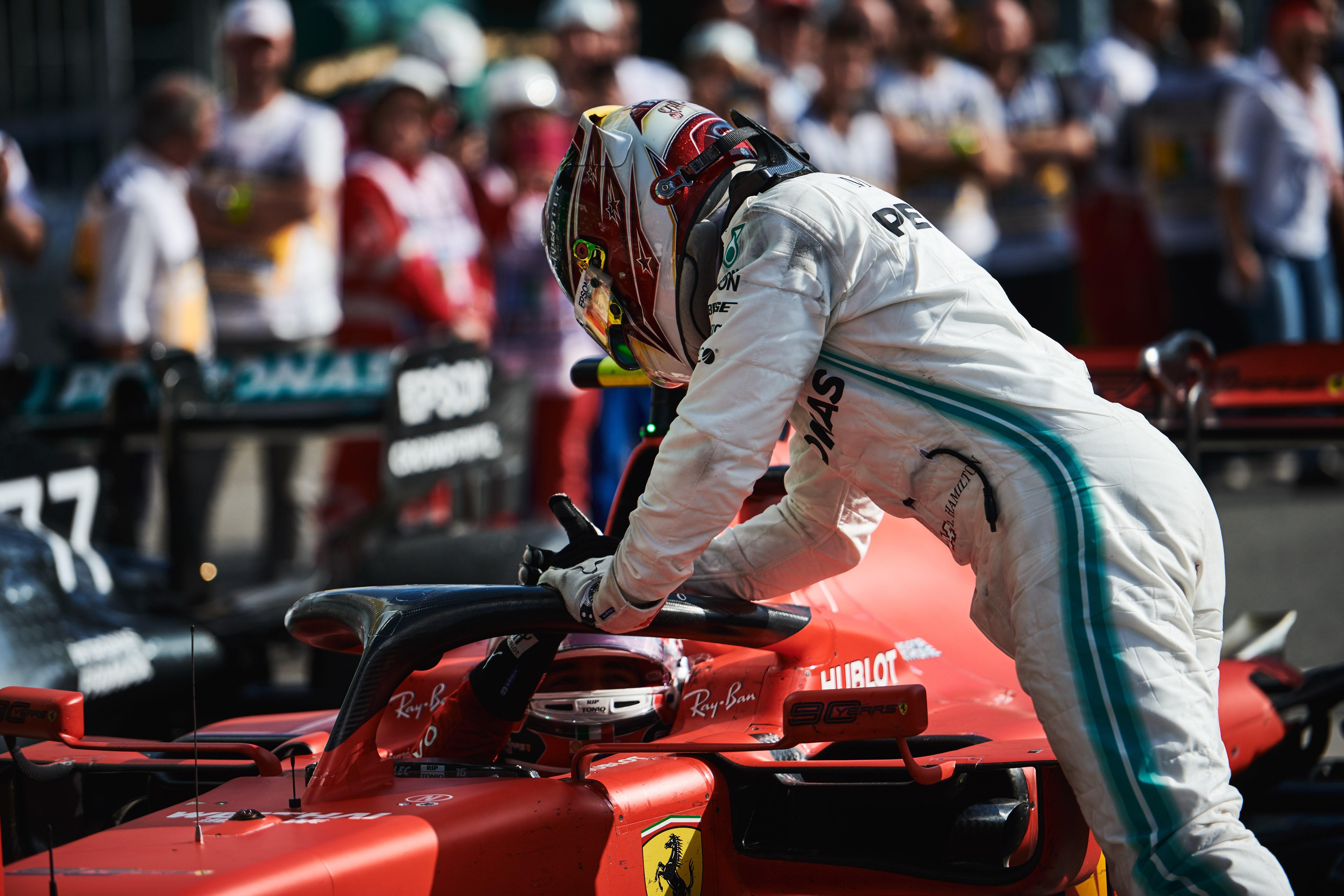 Lewis Hamilton (Mercedes), Charles Leclerc (Ferrari) au Grand Prix d'Italie 2019