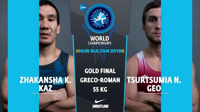 Georgia's Tsurtusmia wins gold in the 55K Greco-Roman wrestling