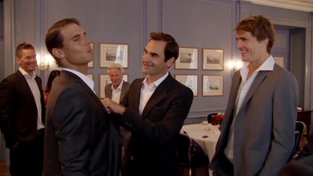 Laver Cup 2019: Federer ayuda a Nadal a acicalarse antes de la presentación