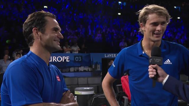 Roger Federer and Alexander Zverev interviewed after Laver Cup doubles win