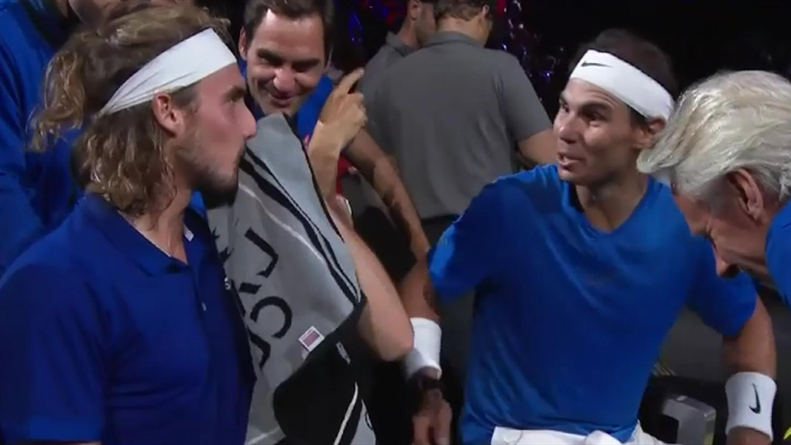 Laver Cup Nadal Und Federer Lachen Sich Uber Tsitsipas Schlapp Tennis Video Eurosport