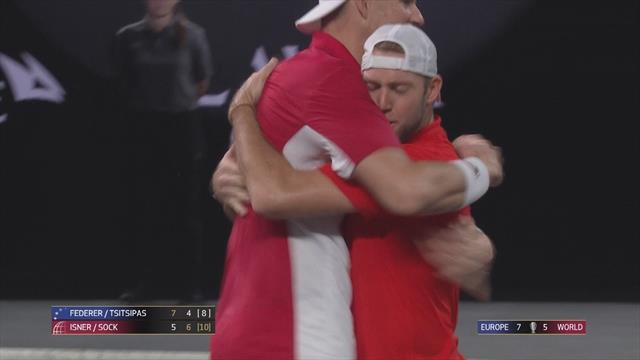 Laver Cup: Isner/Sock-Federer/Tsitsipas 5-7 6-4 10-8, gli highlights