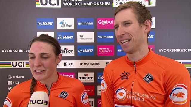 """""""Het is zoveel zwaarder dan een normale ploegentijdrit!"""" Bauke Mollema en Lucinda Brand na winnen WK"""