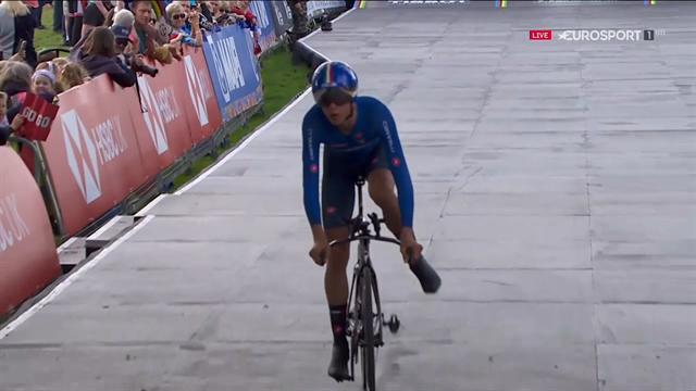 Antonio Tiberi, che impresa: rompe il pedale ma è campione del mondo junior a cronometro