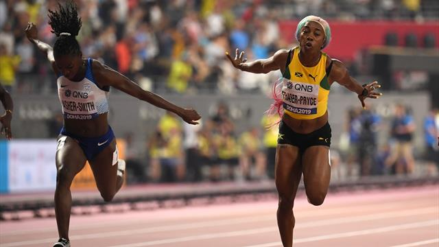 Asher-Smith sets national record to clinch world silver behind Fraser-Pryce