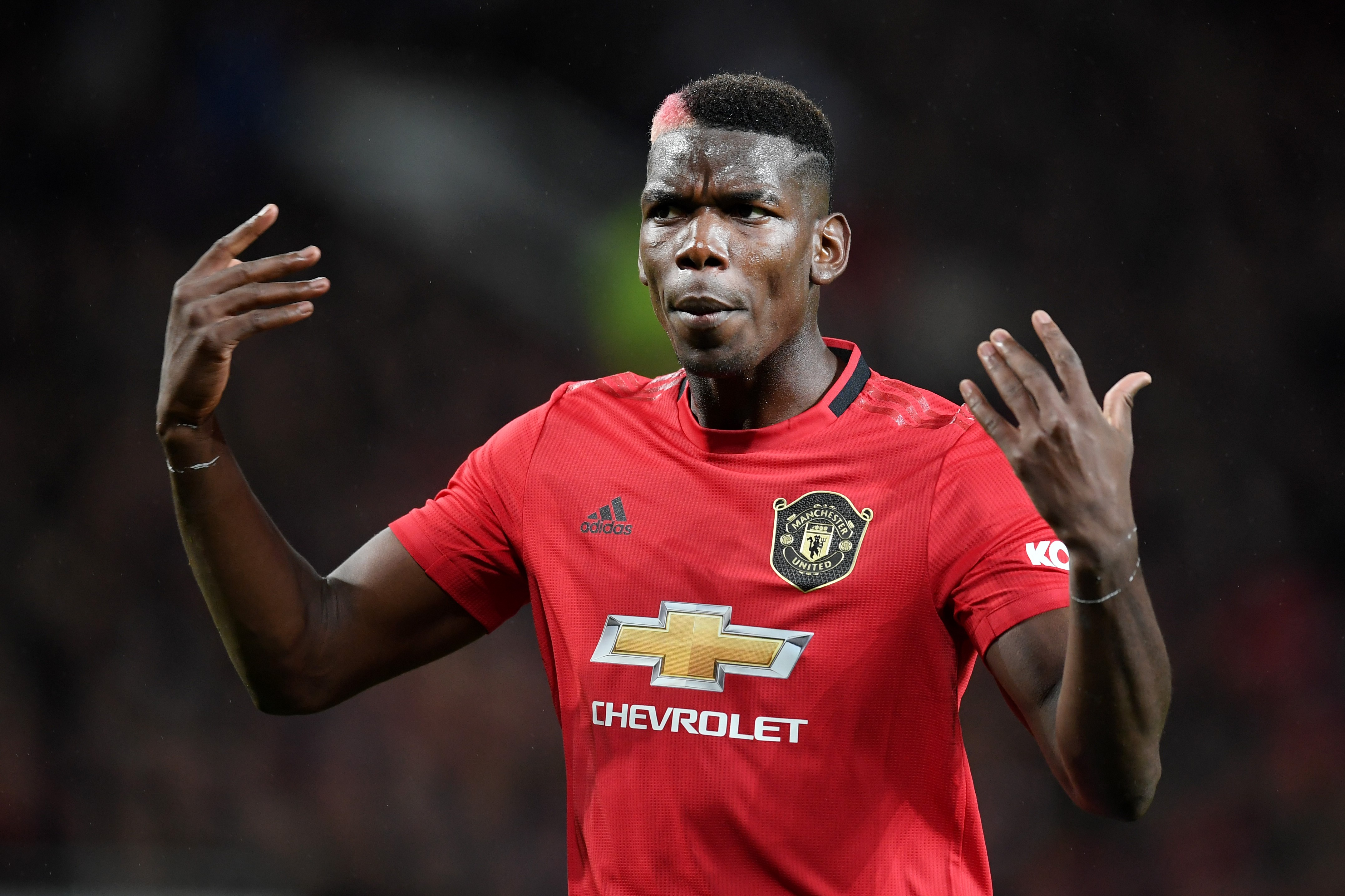 Paul Pogba of Manchester United reacts during the Premier League match between Manchester United and Arsenal FC at Old Trafford on September 30, 2019