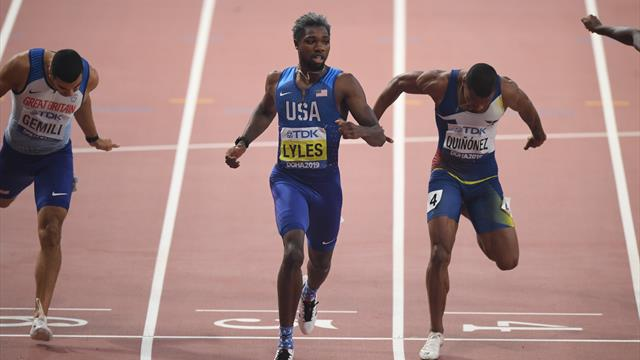 Noah Lyles comes out on top in heated 200 meter final