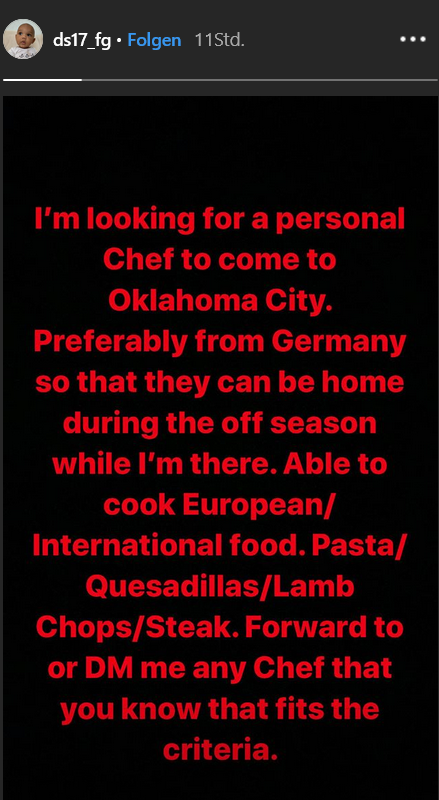 Dennis Schröder sucht einen Koch via Instagram