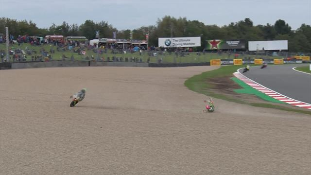 Ben Curry slides off in Donington crash