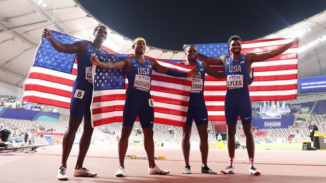 """SUA au cucerit în sfârșit aurul la Mondiale, în ștafeta de 4x100 metri. """"Blestemul"""" dura de 12 ani"""