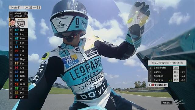 GP Thailand   Inhaalactie laatste bocht door Arenas voor overwinning Moto3
