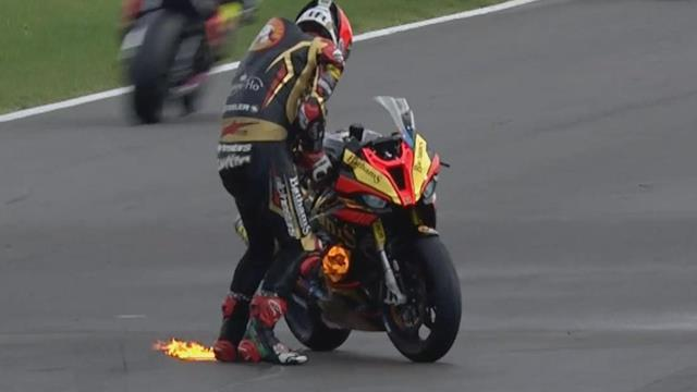 WATCH - Michael Rutter's bike catches fire during Superstock 1000