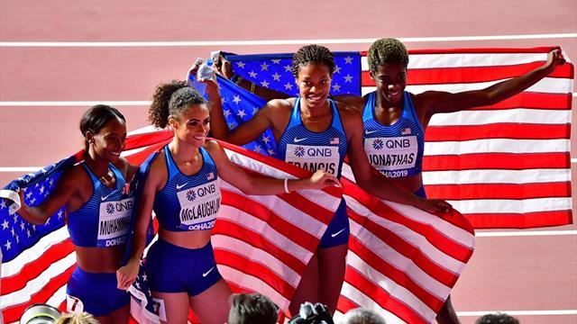 US women dominate 4x400m final