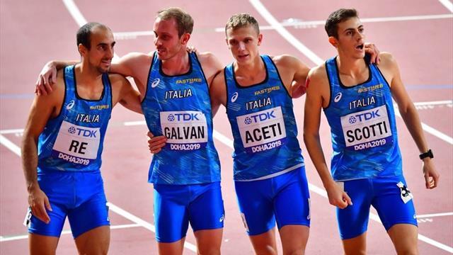 Italia chiuda sesta con la staffetta 4×400, non funziona l'esperimento Davide Re al lancio