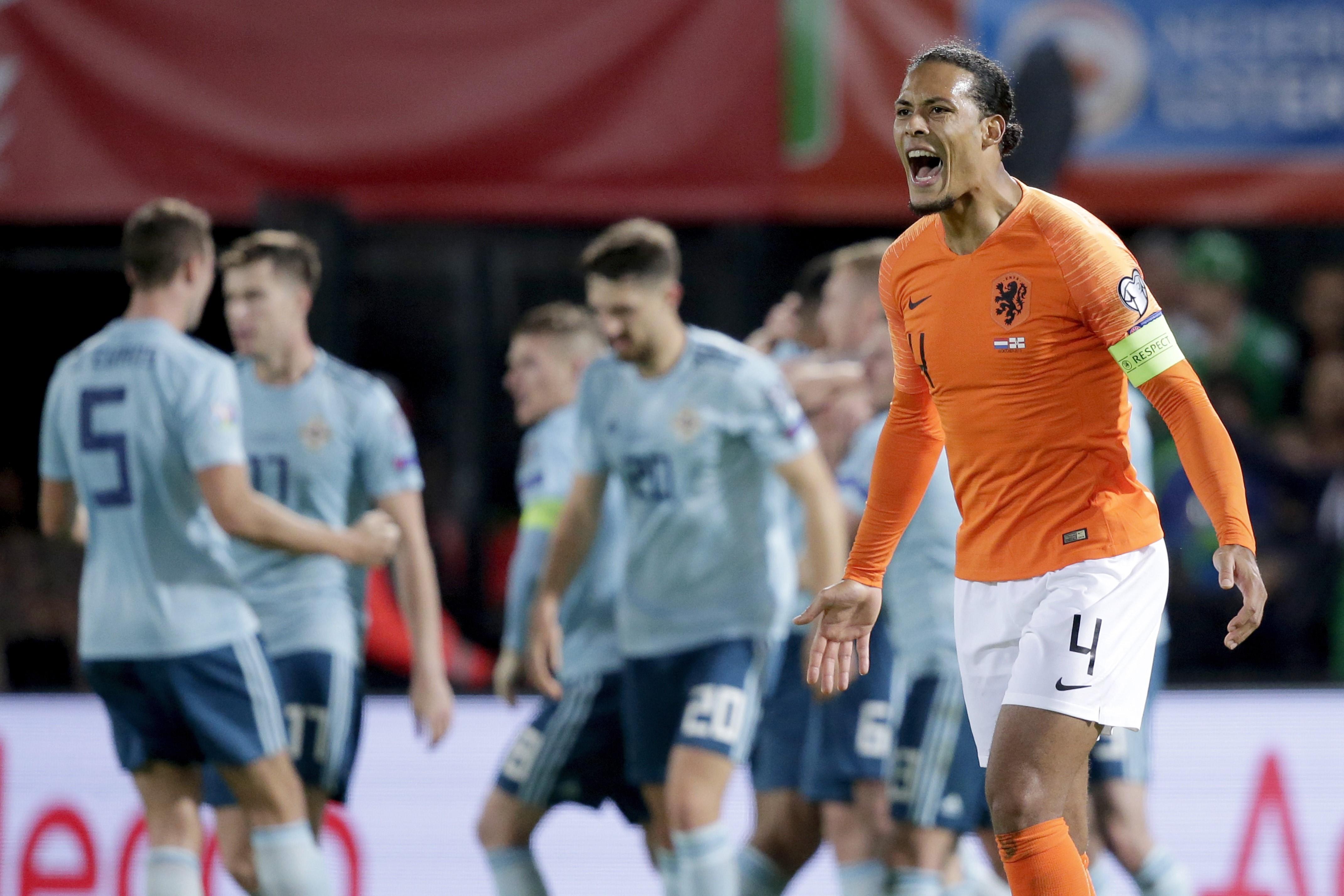 Virgil van Dijk of Holland during the EURO Qualifier match between Holland v Northern Ireland at the Feijenoord Stadium on October 10, 2019