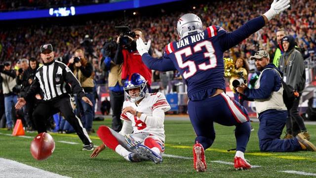 35-14. Ante los Giants, Brady hace dos anotaciones por tierra para que los Patriots siguen invictos